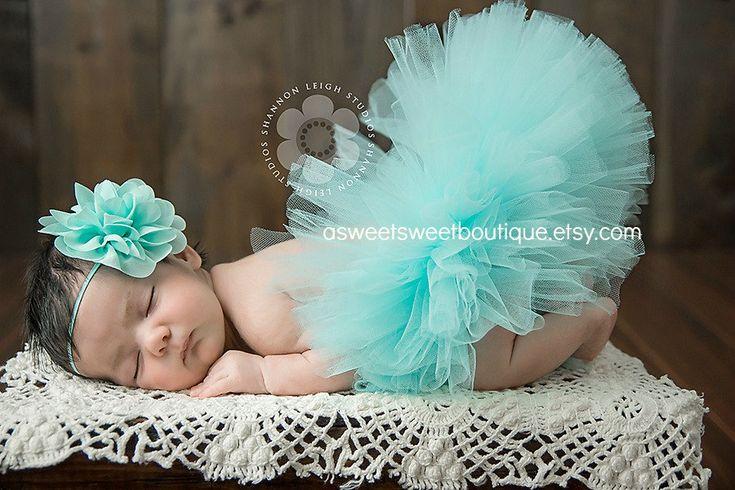 Newborn+Tutu+Aqua+Tutu+Sweet+Aqua+Blossom+by+ASweetSweetBoutique,+$45.00
