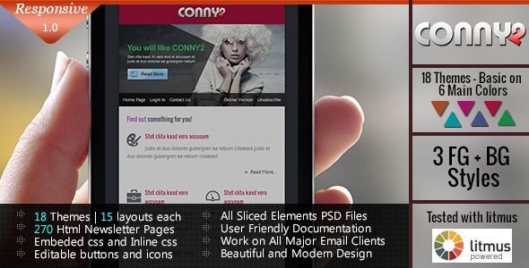 CONNY2 – Multi Usage Responsive Email Template is awesome and mordern template which comes in 18 color themes,15 layouts each, total 270 template pages.