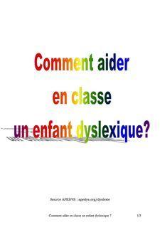 Comment aider en classe un enfant dyslexique ? 1/3 - Jean-Paul - Autres