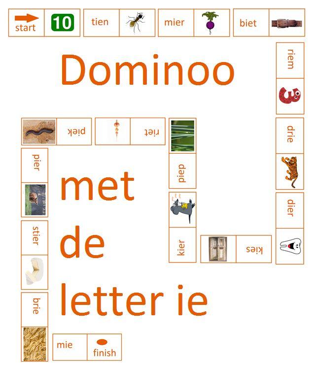 Dominoo met de letter ie. Leuk bij Lijn 3, thema 3 - Digibord Onderbouw