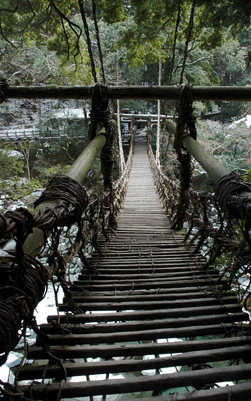 Kazura Vine Suspension Bridge #japan #tokushima  This is a different kind of step by step. I would say step very carefully.