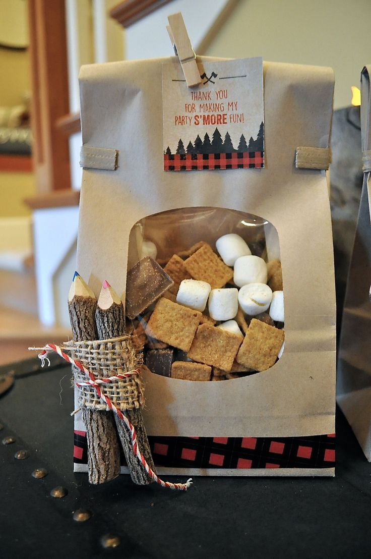 Lumberjack Birthday | S'Mores + Wood Pencil Favors | Bluebird Box Co.