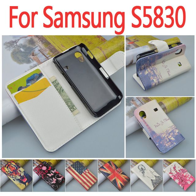 Leather case for Samsung Galaxy Ace S5830 S5830i S5831 S5838 i579 / S 5830 5831 5838 flip cover case with phone covers cases #Affiliate