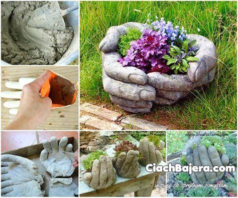 Należy do gumowych rękawiczek włożyć cement; ułożyć w odpowiedniej formie; odczekać aż cement wyschnie; zdjąć gumowe rękawiczki; wypełnić ziemią oraz kwiatami i gotowe! :)