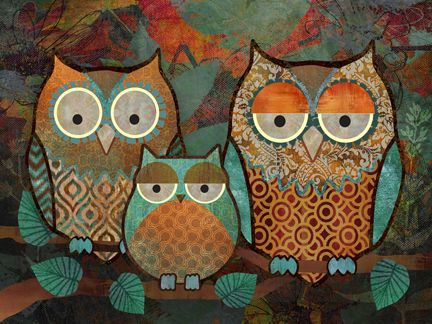 Decorative Owls III by Abby White