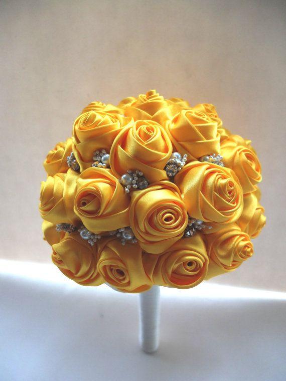 Handmade Satin Rose Bouquet All Yellow Satin by LoveMimosaFleur, $135.00