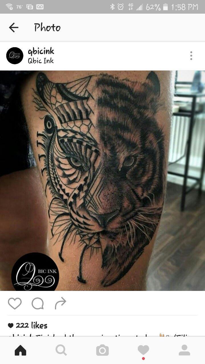 half n half mandala tattoo tiger