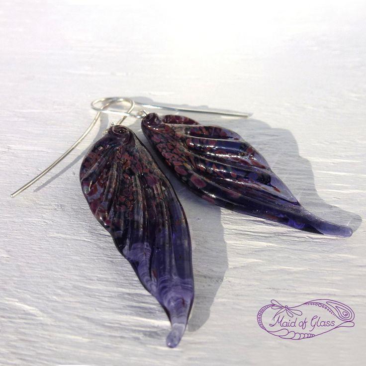 handmade lampwork glass fairy wing earrings in violet ~ www.MaidofGlass.co.uk