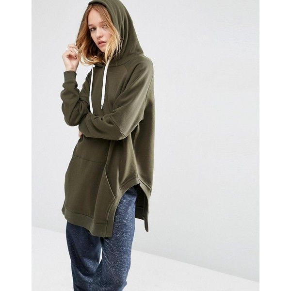 ASOS Hoodie in Longline Oversized Fit with Side Splits (€31) ❤ liked on Polyvore featuring tops, hoodies, green, cotton hooded sweatshirt, cotton hoodies, tall hoodies, tall hoodie and green hooded sweatshirt
