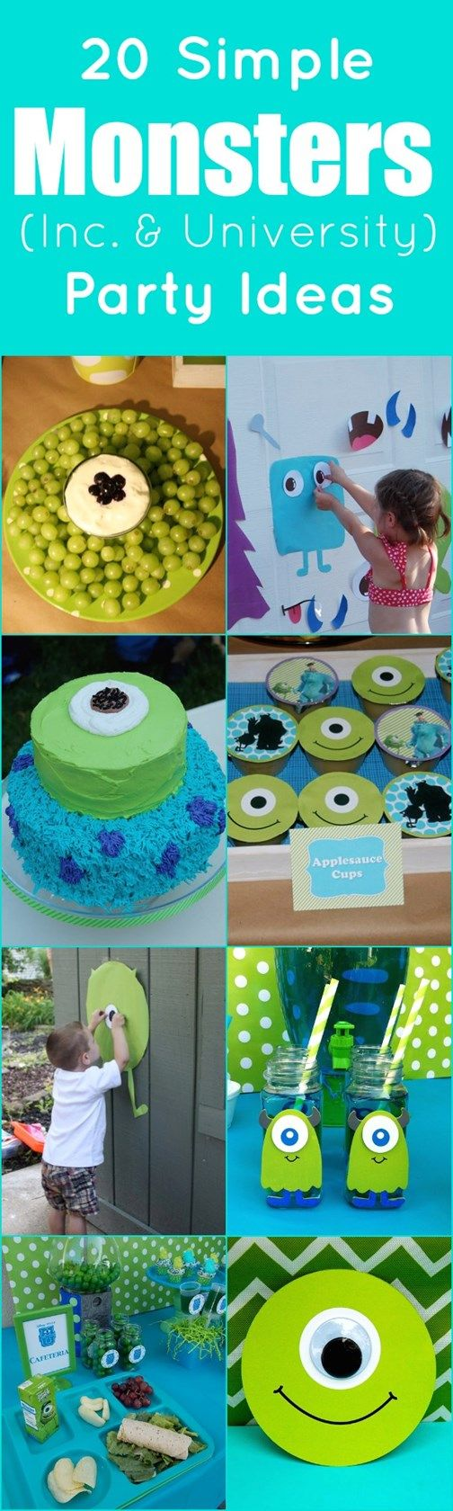 We Heart Parties: 20 Simple Monsters Inc and University Party Ideas