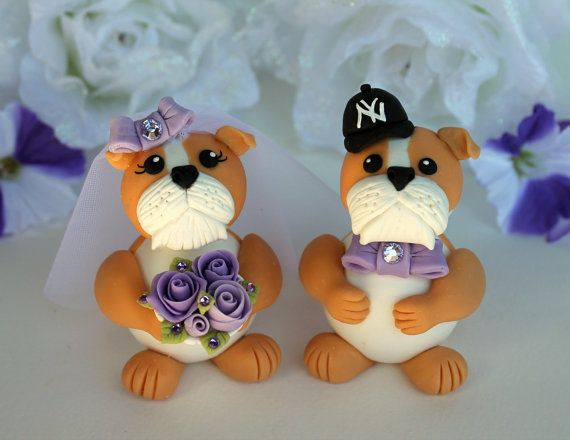 Dog wedding cake topper  bulldog bride and groom by PerlillaPets, $86.00. Out of your price range!?