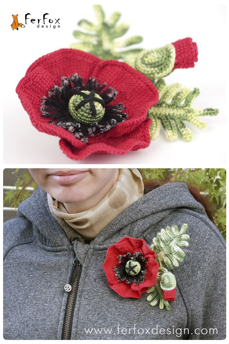 This stunning red poppy brooch by FerFoxDesign will look gorgeous on a shawl, jacket, sweater, coat or any piece of clothing.  #poppy #brooch #ferfoxdesign
