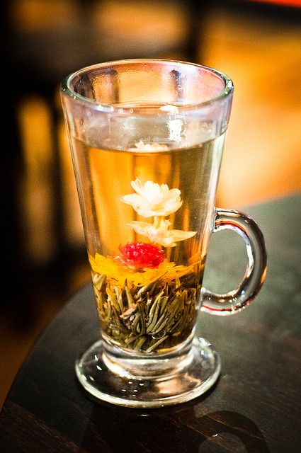 flowering / blooming tea in a tall glass. Quite a different and beautiful effect.