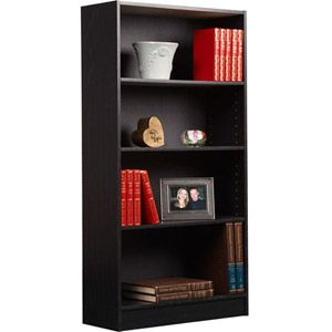 "Orion 4-Shelf Bookcase, Black 48"" high- go a little higher for the built-in bookshelves? only $25 per bookcase"
