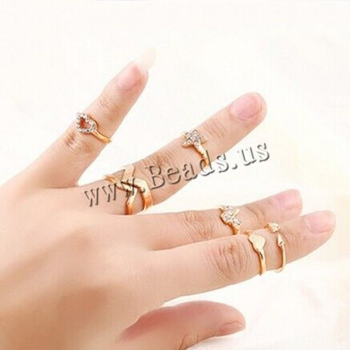 Mid Finger Ring, Zinc Alloy, gold color plated, with rhinestone, nickel, lead & cadmium free, 14.5-18mm
