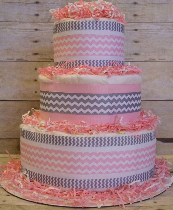 Pink & Grey Chevron Diaper Cake