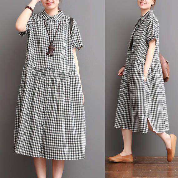 Robe ample coupe près du corps lin coton Long robe chemisier - femmes Maxi occasionnelle