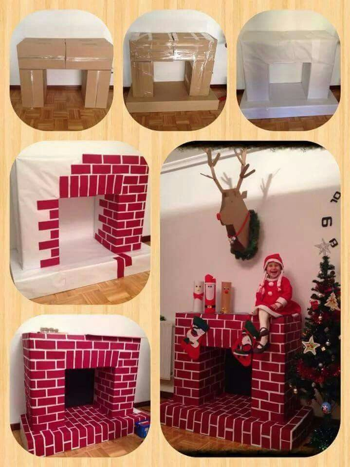 Fireplace Design cardboard christmas fireplace : 264 best Faux fireplace images on Pinterest