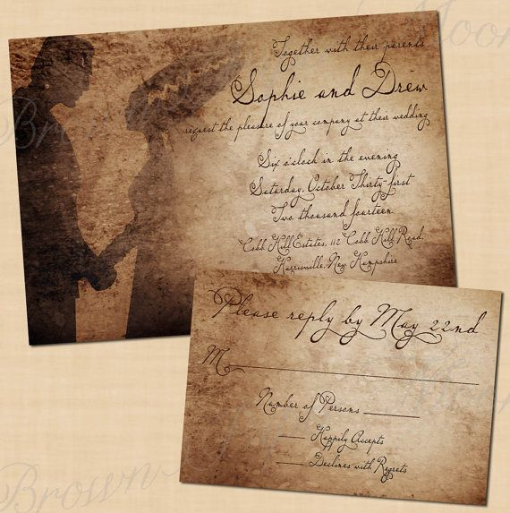Frankenstein's Antique Printable Halloween Wedding Invitation and RSVP Package