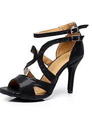Customizable Women's Dance Shoes Latin/Salsa/Samba/Performance Leatherette Stiletto Heel Black – USD $ 84.85