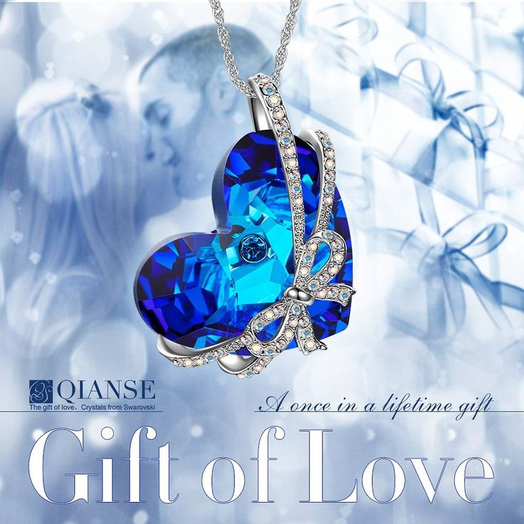 Amazon.com: Qianse Women White Gold Plated with Crystal Heart of the Ocean Swarovski Pendant: Jewelry