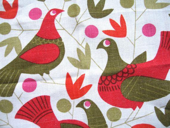 Birds and berries. Vtg midcentury Swedish Scandinavian placemat, MCM, signed C. Arfelt, collectible textile, excellent vintage condition.