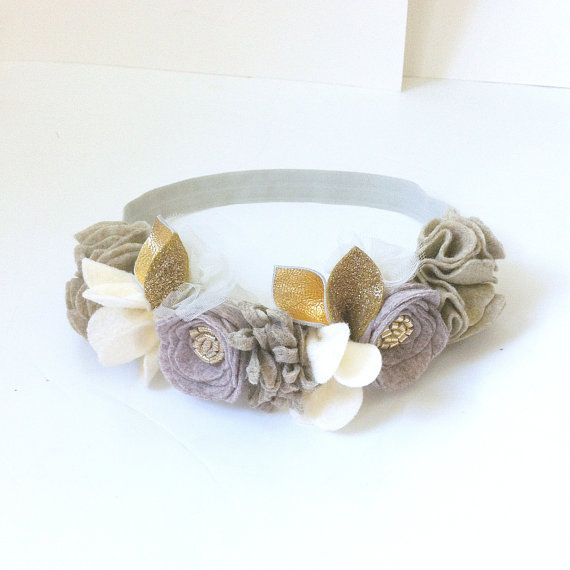 Neutrals //  Felt Flower Crown // Mini Crown // by fancyfreefinery