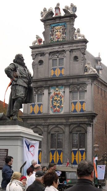 Statue of hig ranked maritime officer Jan Pieterszoon Coen (second in command in Indonesia) in front of the old VOC state house in Hoorn