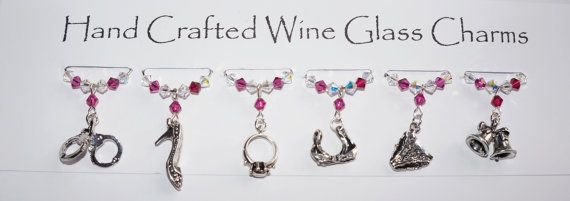 Hen Party Wine Glass Charms Girly Wine Glass by Makewithlovecrafts