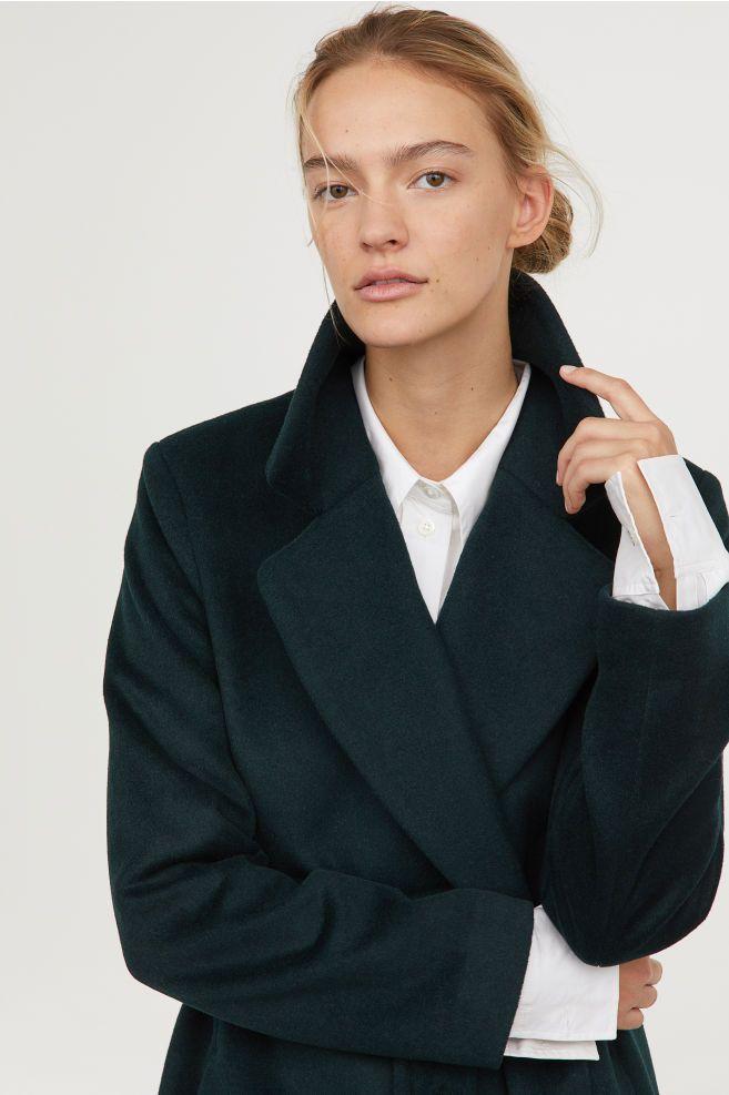 Manteau en laine mélangée Vert foncé FEMME | H&M FR