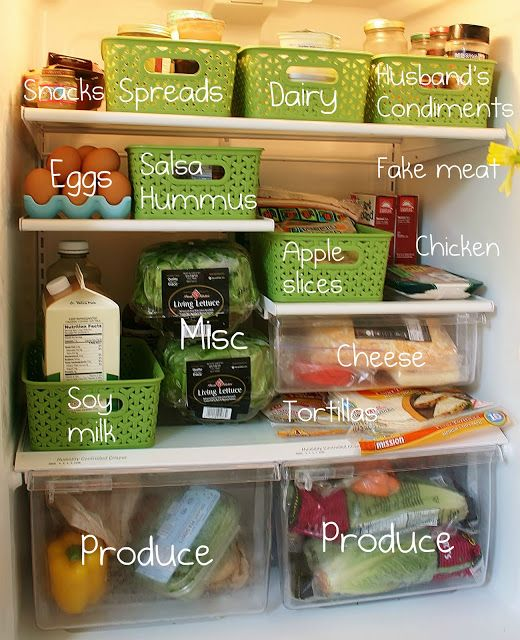 Use inexpensive plastic containers to help organize your crazy fridge. The best part is they slide out similarly to a drawer so you aren't constantly straining to get to the back of the fridge. Click through to see the freezer!