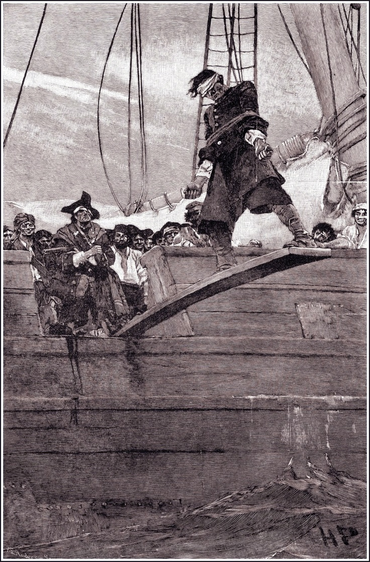 Here be a poor bloke walkin' the plank. A Pirate's Code must be followed, or else!  Pirates!
