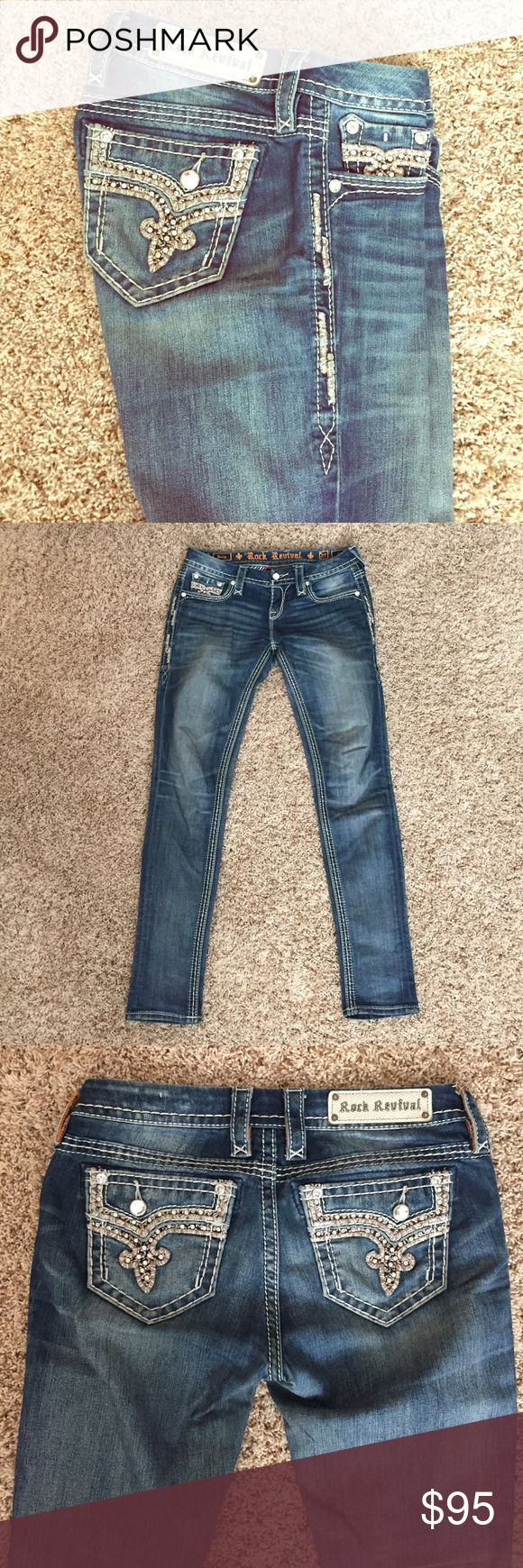 Rock revivals from Buckle Rock Revivals skinny size 27/31, mid rise, sold at Buckle Rock Revival Jeans Skinny
