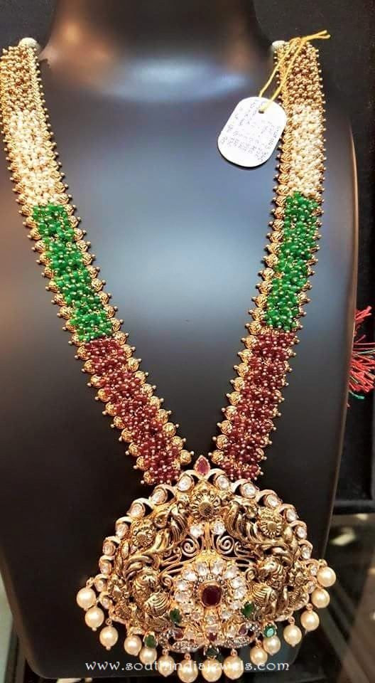 Gold Antique Long Haram from Dhanlaxmi Jewellers
