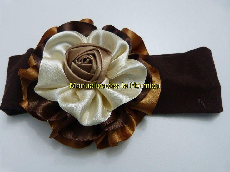 DIY. flores moños  grandes en cinta para el cabello paso a  paso  336 Ma...
