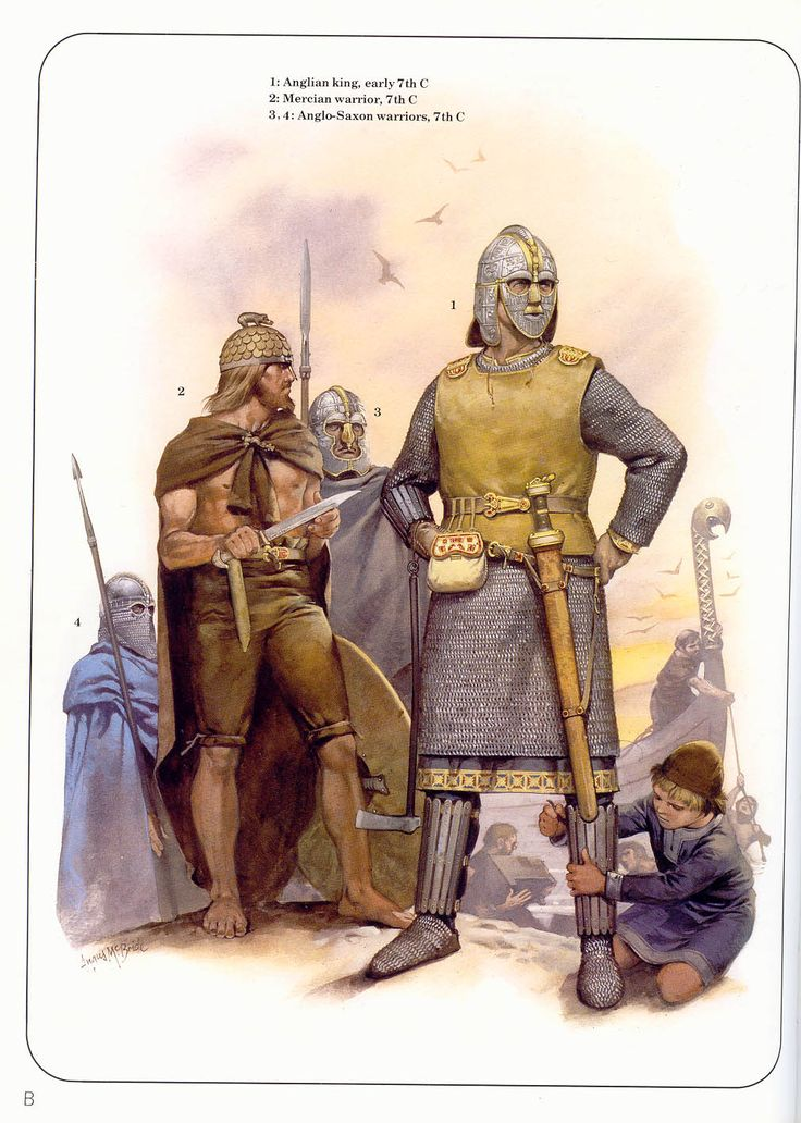 Anglian king, Mercian warrior, and Anglo-Saxon warriors; 7th C - *too many helments, unrealistic, but great illustration and portrayal