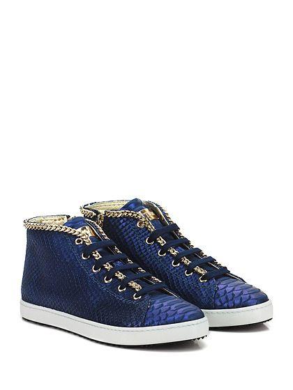 STOKTON - Sneakers - Donna - Sneaker in pelle effetto pitone con catena su profilo, zip su lato interno e suola in gomma. Tacco 20. - BLU METAL