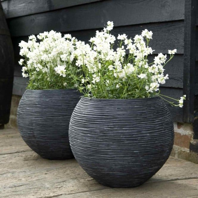 Round Ball Fiberstone Ribbed Black Planter By Cadix Capi Nature D62 H48 Cm Large Garden Vases Large Outdoor Planters Planters