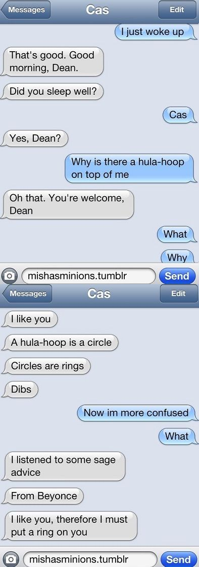 Let's be clear, I don't ship Destiel but this is hilarious<<WELL I SHIP IT AND THIS IS BLOODY BRILLIANT!