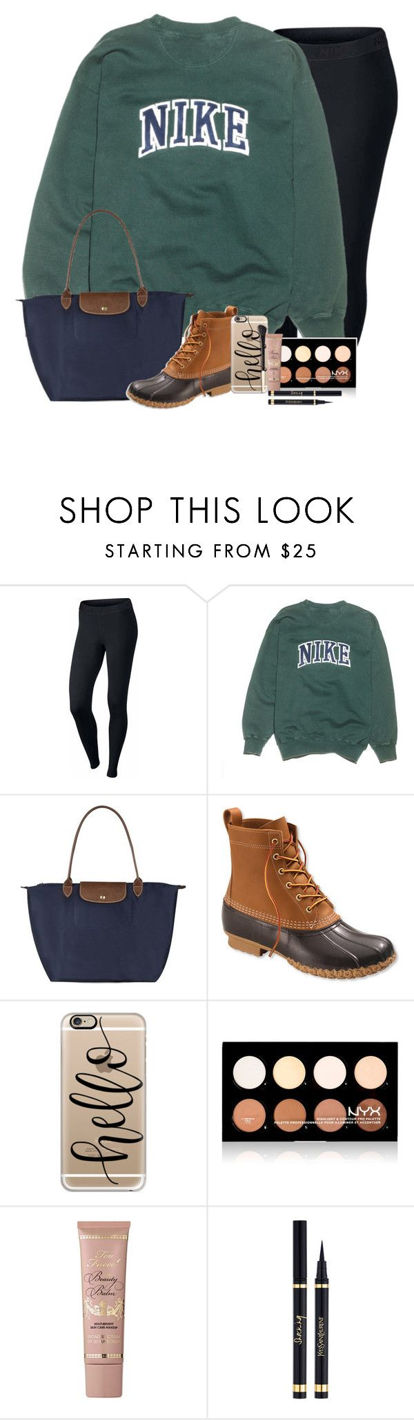 """RTD!!!!!"" by simplesouthernlife01 ❤ liked on Polyvore featuring NIKE, Longchamp, L.L.Bean, Casetify, NYX, Too Faced Cosmetics, Yves Saint Laurent and 30DaysOfChristmas2k16"