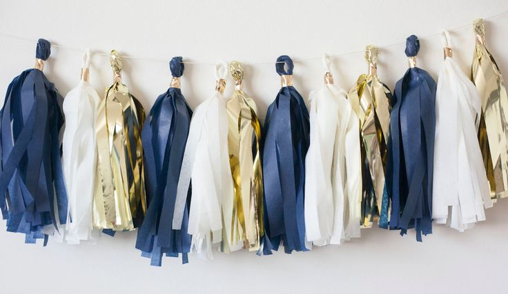 Starry Midnight Gold Tassel Garland, Star Garland, Navy Gold Garland, New Years Party garland, New Years party decor, Christmas party decor by LoveGarlands on Etsy https://www.etsy.com/listing/196758737/starry-midnight-gold-tassel-garland-star
