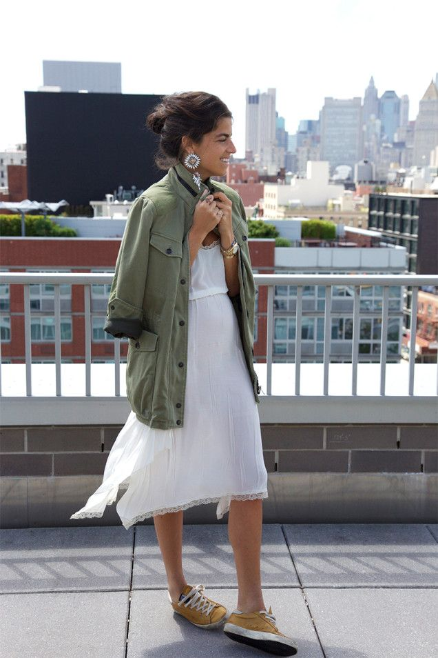Leandra keeping it interesting with a pretty meets military situation (with kicks). #LeandraMedine #ManRepeller