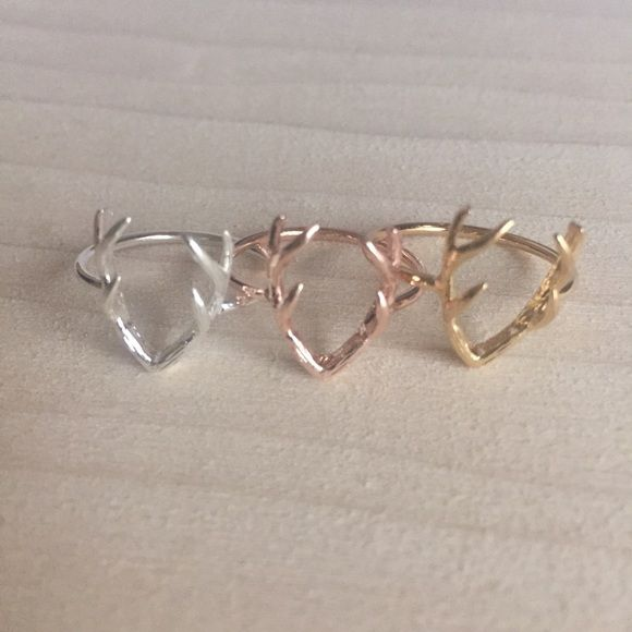 NWT Deer Antler Ring Brand new rings! Price is for one. All rings a plated gold, silver or rose gold. Same day or next day shipping. No trades and no holds. 20% off bundles. Not PINK. Please let me know what color you would like and I'll make you listing!  PINK Victoria's Secret Jewelry Rings