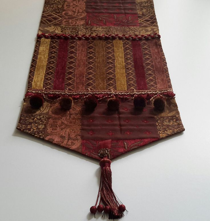 Elegant Jewel Toned Table Runner in Burgundy/Gold Chenille Fabrics - Size 15 in x 70 in by CVDesigns on Etsy