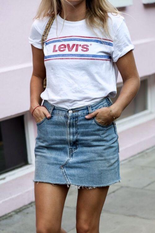 Summer style, outfit ideas, street style, summer 2017 trends, denim skirt, t shirt, levis,