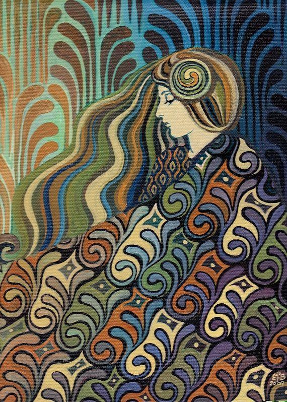 Carte de voeux de 5 x 7 de dalia Art Nouveau par EmilyBalivet