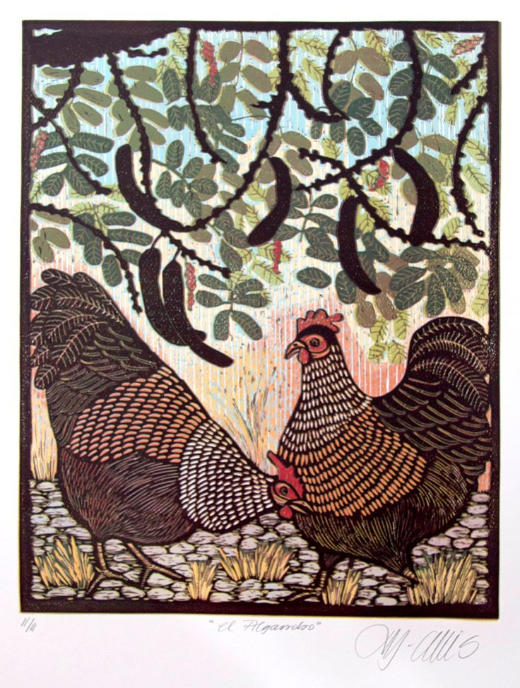 linocut, Hens under a Carob tree, vibrant colours on white paper. $225.00, via Etsy.