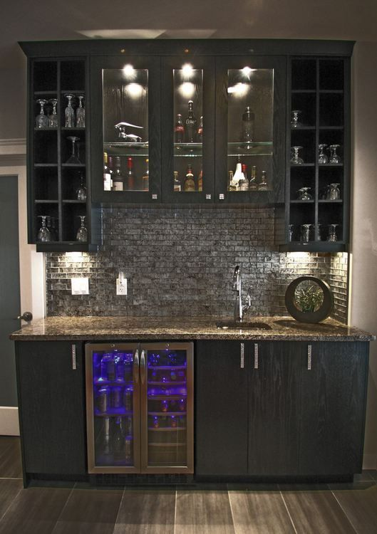 Awesome Wet Bar Backsplash Ideas Part - 2: Home Wet Bar Designs W/ Glass Backsplash, Built In Counter Height Beverage  Cooler In Stainless Steel. I Love This For Behind The Bar Counter, ...