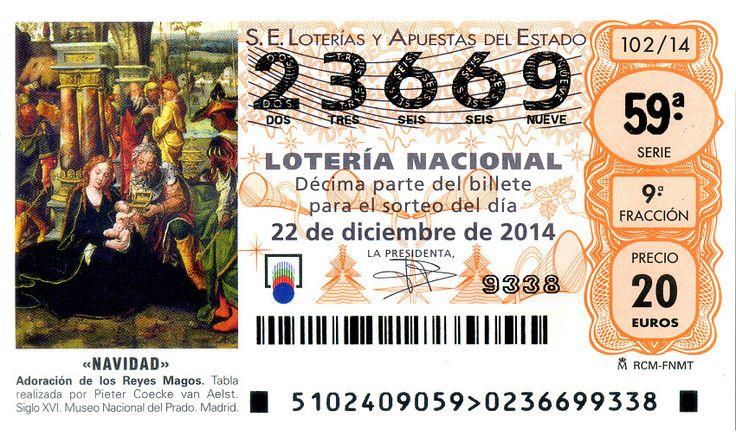 Billete de lotería: Navidad. Adoración de los Reyes Magos (Loteria Nacional (Spain), España) (2014 Biblioteca Nacional de Espańa) Col:LN-SP-14-X102