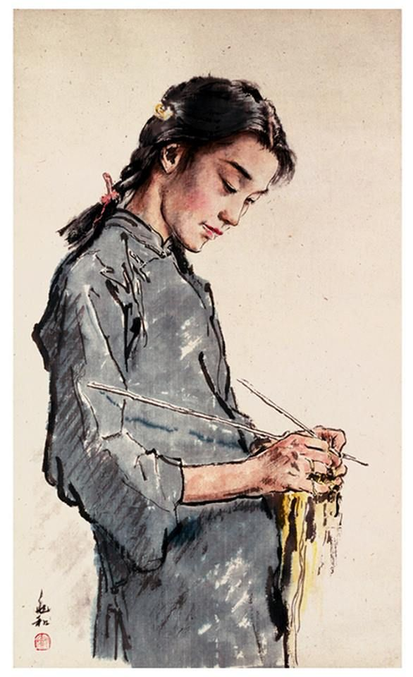 """Extremely rare painting of a knitter in China.    """"Knitting"""" was painted by Jiang Zhaohe,1904-1986  — Products shown: Dutch Knits, 1635-1969 by Constance Willems at www.knitdesign.com"""